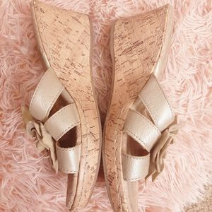 boc Shoes - BOC Born Concept Gold Leather Flower Cork Wedges
